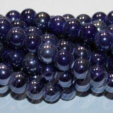 jsker0002-apv-18 (A34) apie 18 mm, apvali forma, tamsi, mėlyna spalva, keramikiniai karoliukai, apie 17 vnt.