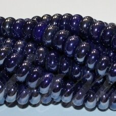 jsker0002-ron-05x10 about 5 x 10 mm, rondelle shape, dark, blue color, ceramic beads, about 53 pcs.