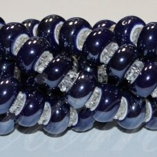 jsker0002-ron-07x13 about 7 x 13 mm, hole 6 mm. rondelle shape, dark, blue color, ceramic beads, about 25 pcs.
