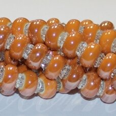 jsker0003-ron-07x13 about 7 x 13 mm, hole 6 mm. rondelle shape, orange color, ceramic beads, about 25 pcs.