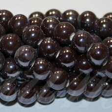 jsker0004-apv-10 about 10 mm, round shape, brown color, ceramic beads, about 30 pcs.