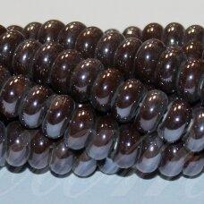 jsker0004-ron-05x10 apie 5 x 10 mm, rondelės forma, ruda spalva, keramikiniai karoliukai, apie 53 vnt.