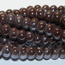 jsker0004-ron-05x8 apie 5 x 8 mm, rondelės forma, ruda spalva, keramikiniai karoliukai, apie 60 vnt.
