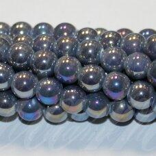 jsker0005-apv-08 (B11) apie 8 mm, apvali forma, pilka spalva, keramikiniai karoliukai, ab danga, apie 40 vnt.