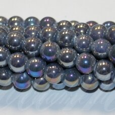 jsker0005-apv-14 (b11) apie 14 mm, apvali forma, pilka spalva, keramikiniai karoliukai, ab danga, apie 21 vnt.