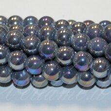 jsker0005-apv-16 (b11) apie 16 mm, apvali forma, pilka spalva, keramikiniai karoliukai, ab danga, apie 18 vnt.
