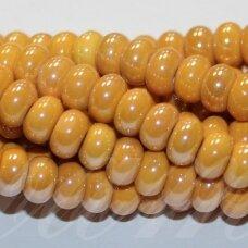 jsker0006-ron-05x8 apie 5 x 8 mm, rondelės forma, šviesi, oranžinė spalva, keramikiniai karoliukai, apie 60 vnt.
