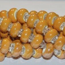 jsker0006-ron-07x13 apie 7 x 13 mm, skylė 6 mm, rondelės forma, šviesi, oranžinė spalva, keramikiniai karoliukai, apie 25 vnt.