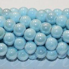 jsker0008-apv-10 (A16) apie 10 mm, apvali forma, žydra spalva, keramikiniai karoliukai, apie 30 vnt.