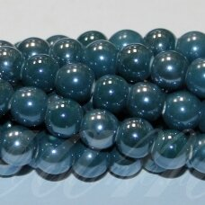 jsker0009-apv-08 (a27) apie 8 mm, apvali forma, elektrinė spalva, keramikiniai karoliukai, apie 40 vnt.