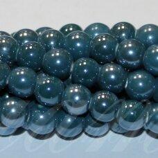 jsker0009-apv-14 (a27) apie 14 mm, apvali forma, elektrinė spalva, keramikiniai karoliukai, apie 21 vnt.