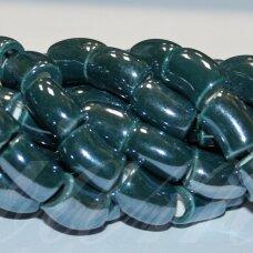 jsker0009-lcil-14x8 (a27) apie 14 x 8 mm, skylė 5 mm, lenkto cilindro forma, elektrinė spalva, keramikiniai karoliukai, apie 25 vnt.