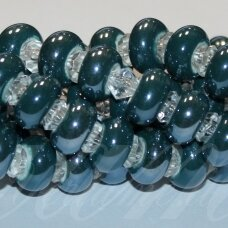 jsker0009-ron-07x13 (a27) apie 7 x 13 mm, skylė 6 mm, rondelės forma, elektrinė spalva, keramikiniai karoliukai, apie 25 vnt.