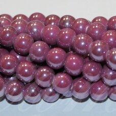 jsker0010-apv-20 (a3) apie 20 mm, apvali forma, alyvinė spalva, keramikiniai karoliukai, apie 14 vnt.