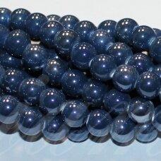 jsker0011-apv-14 (a26) apie 14 mm, apvali forma, pilka spalva, mėlyna spalva, keramikiniai karoliukai, apie 21 vnt.