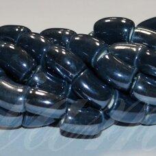 jsker0011-lcil-14x8 (A26) apie 14 x 8 mm, skylė 5 mm, lenkto cilindro forma, pilka spalva, mėlyna spalva, keramikiniai karoliukai, apie 25 vnt.