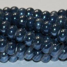 jsker0011-ron-05x8 (a26) apie 5 x 8 mm, rondelės forma, pilka spalva, mėlyna spalva, keramikiniai karoliukai, apie 60 vnt.