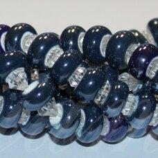jsker0011-ron-07x13 (a26) apie 7 x 13 mm, skylė 6 mm, rondelės forma, pilka spalva, mėlyna spalva, keramikiniai karoliukai, apie 25 vnt.
