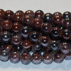 JSKER0012-APV-10 apie 10 mm, apvali forma, marga, ruda spalva, keramikiniai karoliukai, apie 30 vnt.