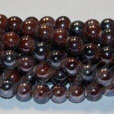 jsker0012-apv-12 apie 12 mm, apvali forma, marga, ruda spalva, keramikiniai karoliukai, apie 25 vnt.
