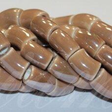 jsker0013-lcil-14x8 (A22) apie 14 x 8 mm, skylė 5 mm, lenkto cilindro forma, šviesi, ruda spalva, keramikiniai karoliukai, apie 25 vnt.