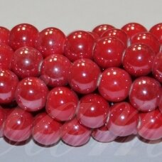 jsker0014-apv-08 (a6) apie 8 mm, apvali forma, raudona spalva, keramikiniai karoliukai, apie 40 vnt.