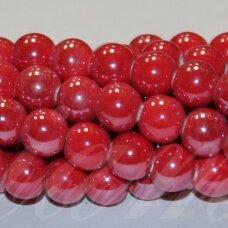 jsker0014-apv-14 (a6) apie 14 mm, apvali forma, raudona spalva, keramikiniai karoliukai, apie 21 vnt.
