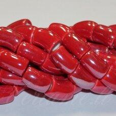 jsker0014-lcil-14x8 (A6) apie 14 x 8 mm, skylė 5 mm, lenkto cilindro forma, raudona spalva, keramikiniai karoliukai, apie 25 vnt.