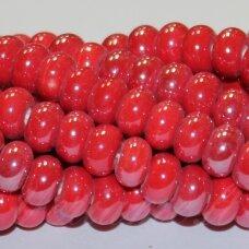 JSKER0014-RON-05x8 apie 5 x 8 mm, rondelės forma, raudona spalva, keramikiniai karoliukai, apie 60 vnt.
