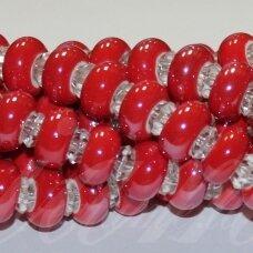 jsker0014-ron-07x13 (a6) apie 7 x 13 mm, skylė 6 mm, rondelės forma, raudona spalva, keramikiniai karoliukai, apie 25 vnt.