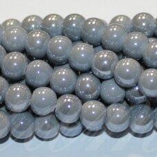 jsker0015-apv-08 (a30) apie 8 mm, apvali forma, pilka spalva, keramikiniai karoliukai, apie 42 vnt.