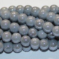 jsker0015-apv-16 (a30) apie 16 mm, apvali forma, pilka spalva, keramikiniai karoliukai, apie 18 vnt.