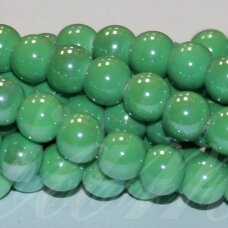 jsker0016-apv-12 (A19) apie 12 mm, apvali forma, žalia spalva, keramikiniai karoliukai, apie 25 vnt.