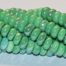 jsker0016-ron-05x10 (a19) apie 5 x 10 mm, rondelės forma, žalia spalva, keramikiniai karoliukai, apie 53 vnt.