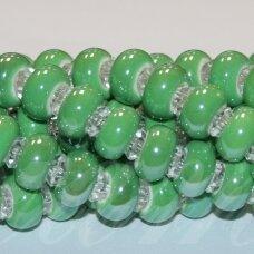 JSKER0016-RON-07x13 apie 7 x 13 mm, skylių,6 mm, rondelės forma, žalia spalva, keramikiniai karoliukai, apie 25 vnt.