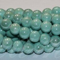jsker0017-apv-08 (A17) apie 8 mm, apvali forma, šviesi, žalia spalva, keramikiniai karoliukai, apie 40 vnt.