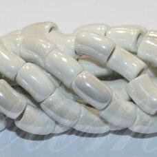 jsker0018-lcil-14x8 (A8) apie 14 x 8 mm, skylė 5 mm, lenkto cilindro forma, balta spalva, keramikiniai karoliukai, apie 25 vnt.
