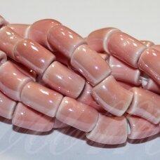 jsker0019-lcil-14x8 (A1) apie 14 x 8 mm, skylė 5 mm, lenkto cilindro forma, rožinė spalva, keramikiniai karoliukai, apie 25 vnt.