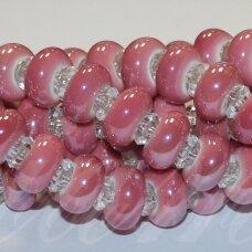 JSKER0024-RON-07x13 apie 7 x 13 mm, skylių,6 mm, rondelės forma, rožinė spalva, keramikiniai karoliukai, apie 25 vnt.
