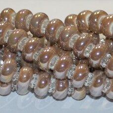 JSKER0026-RON-07x13 apie 7 x 13 mm, skylių,6 mm, rondelės forma, šviesi, ruda spalva, keramikiniai karoliukai, AB danga, apie 25 vnt.