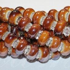 JSKER0033-RON-07x13 apie 7 x 13 mm, skylių,6 mm, rondelės forma, margas, ruda spalva, keramikiniai karoliukai, apie 25 vnt.