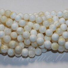 jskrm-balt-gelt-apv-06 apie 6 mm, apvali forma, balta spalva, geltona spalva, kriauklių masė, apie 62 vnt.
