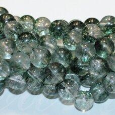 JSLOD-APV-10 apie 10 mm, apvali forma, žalias lodolito kvarcas, apie 38 vnt.