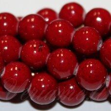 jsmarm0033-apv-08 (x-25) apie 8 mm, apvali forma, tamsi, raudona spalva, apie 48 vnt.