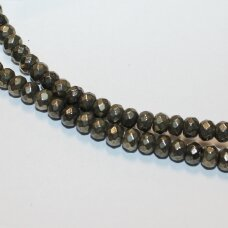 jspir-ron-br-03x5 apie 3 x 5 mm, rondelės forma, briaunuotas, piritas, apie 120 vnt.