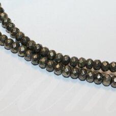 jspir-ron-br-04x6 apie 4 x 6 mm, rondelės forma, briaunuotas, piritas, apie 90 vnt.