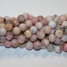 jsrozop-apv-06 apie 6 mm, apvali forma, rožinis opalas, apie 62 vnt.