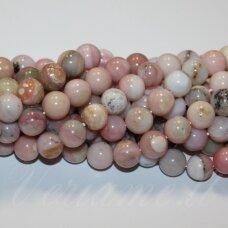 jsrozop-apv-08 apie 8 mm, apvali forma, rožinis opalas, apie 48 vnt.