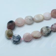 jsrozop-net11-8x8-13x10 apie 8 x 8 - 13 x 10 mm, netaisyklinga forma, rožinis opalas, apie 38 cm.