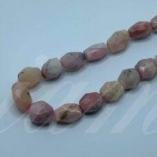 jsrozop-net12-11x9-14x13 apie 11 x 9 - 14 x 13 mm, netaisyklinga forma, briaunuotas, rožinis opalas, apie 38 cm.